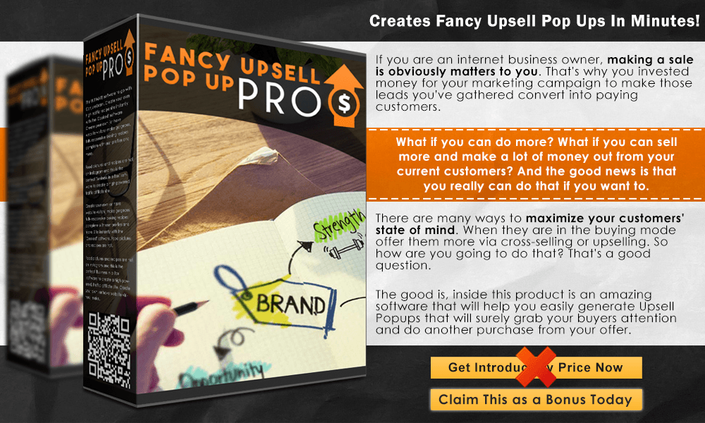 Fancy Upsell Pop Up PRO Info Graphic