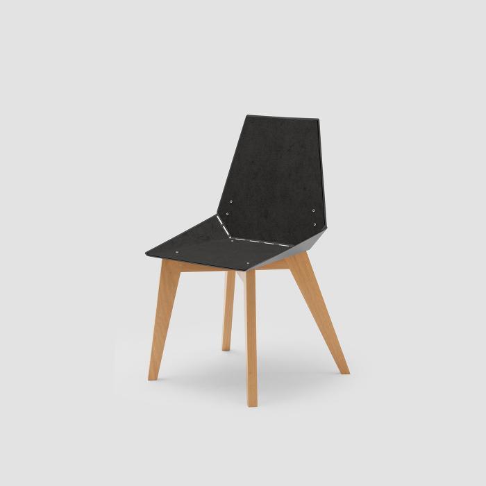 Cadeira Alpha cinza com feltro preto