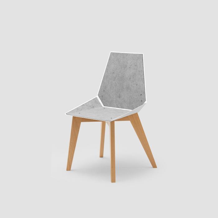 Cadeira Alpha branca com feltro cinza