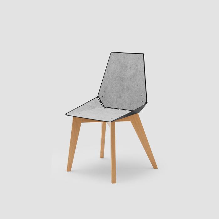 Cadeira Alpha preta com feltro cinza