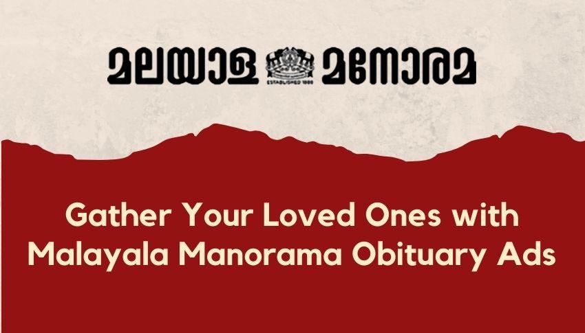 Malayala Manorama obituary advertisement rates