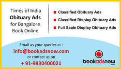 Book Obituary Ads Online in Times of India for Bangalore