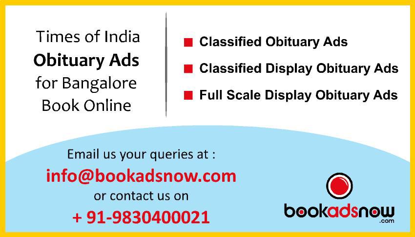 Times of India Obituary Ads for bangalore