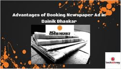 Advantages of Booking Newspaper Ad in Dainik Bhaskar