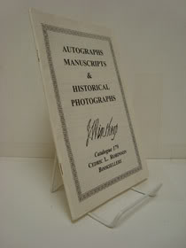 Autographs, Manuscripts & Historical Photographs (Catalogue 179), Cedric L. Robinson, Booksellers