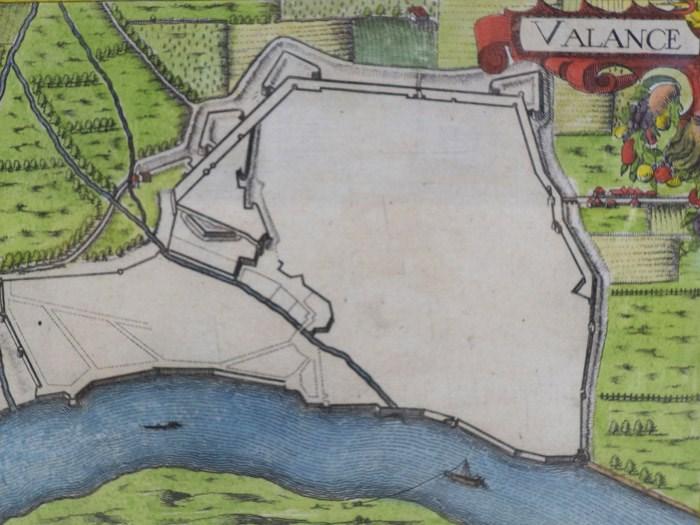 Hand Colored 1636 Print, Map of Valance, from 'Les plans et profils de toutes les principales villes et lieux considerables de France', [Tassin, Nicholas]