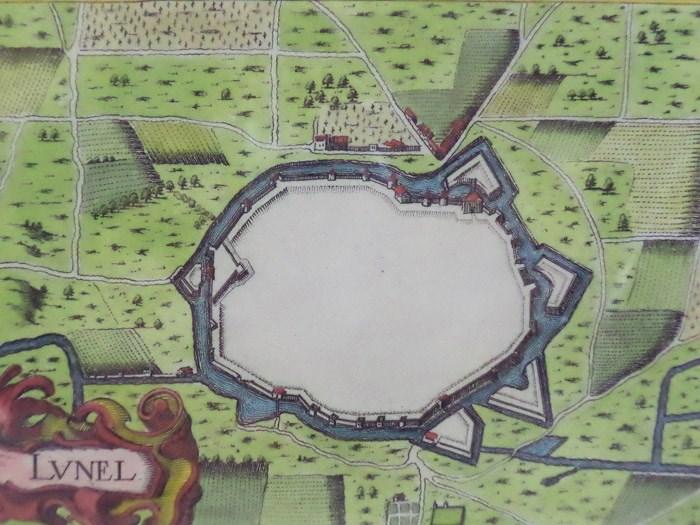 Hand Colored 1636 Print, Map of Lunel, from 'Les plans et profils de toutes les principales villes et lieux considerables de France', [Tassin, Nicholas]