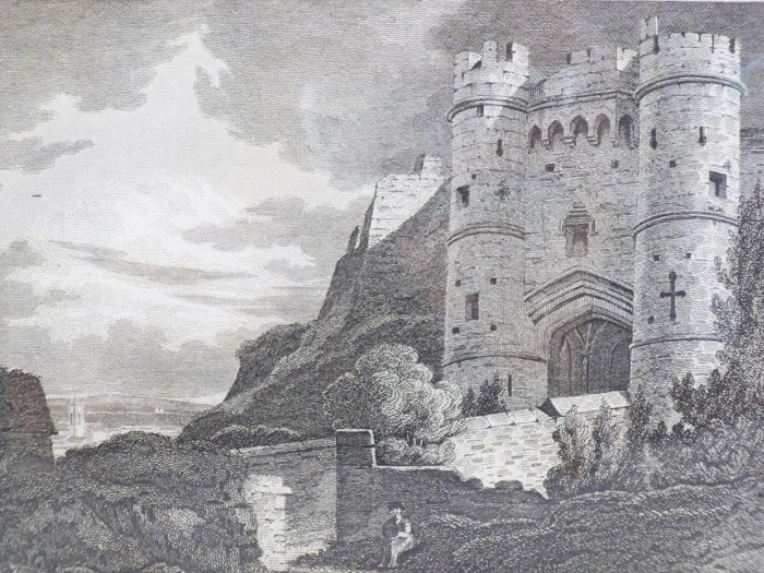 1811 Engraving, Carisbrook Castle, Isle of Wight [England], [Brayley, Edward] [Britton, John]
