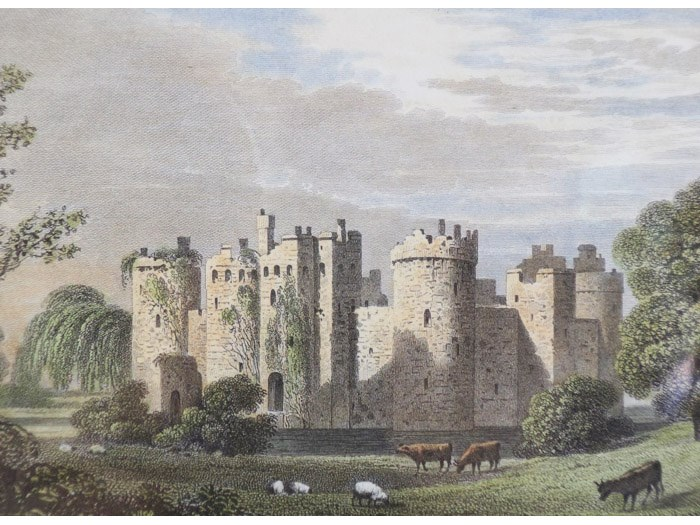 1825 Engraving, Bodyham [Bodiam] Castle, Sussex [England], Stockdale, F.W.L.; Woolnoth, W.