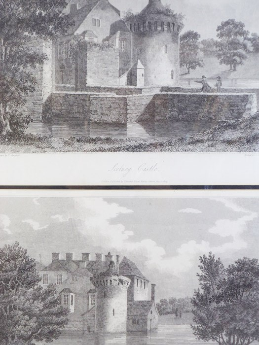 1809 Prints - Two Views of Scotney Castle [Kent, England], Etched by Letitia Byrne from Drawings by P. Amsinck, Amsinck, P.; Byrne, Letitia