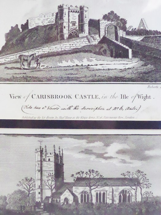 Two Prints: View of Carisbrook Castles, in the Isle of Wight; Carisbrook Church in the Isle of Wight [England], Roberts; Sparrow