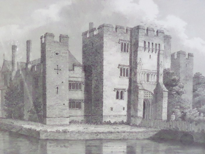 1809 Engraving of Hever Castle [Edenbridge, Kent, England], Amsinck, P.; Byrne, Letitia