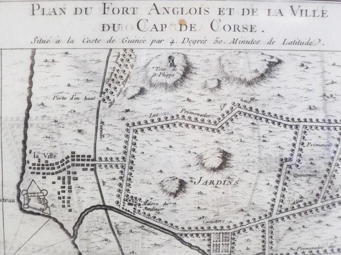 1747 Plan from Prevost's 'Histoire Generale des Voyages': Plan du Fort Anglois et de la Ville du Cap de Corse, Situe a la Coste de Guinee par 4. Degres 50. Minutes de Latitude, [Prevost]