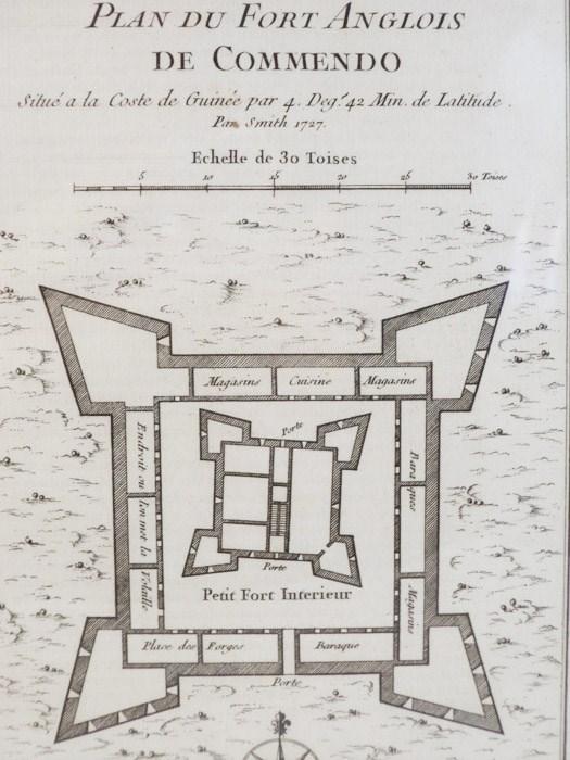 1747 Plan from Prevost's 'Histoire Generale des Voyages': Plan du Fort Anglois de Commendo, Situe a la Coste de Guinee par 4. Deg. 42 Min. de Latitude Par Smith 1727, [Prevost]
