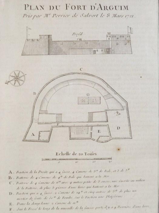 1747 Plan from Prevost's 'Histoire Generale des Voyages': Plan du Fort Fort D'Arguim Pris par Mr. Perrier de Salvert le S Mars 1721, [Prevost]