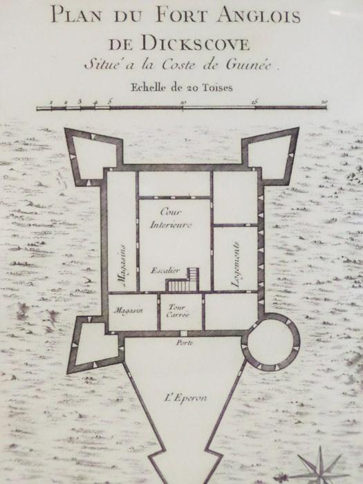 1747 Plan from Prevost's 'Histoire Generale des Voyages': Plan du Fort Anglois de Dickscove, Situe a la Coste de Guinee, [Prevost]