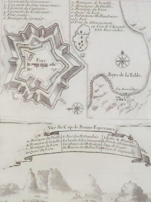 1747 Plan from Prevost's 'Histoire Generale des Voyages', Three Views: Birds'-Eye Plan; Birds'-Eye Map of Fort along 'Baye de la Table'; Vue du Cap de Bonne Esperance, [Prevost]