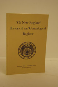 The New England Historical and Genealogical Register Vol. 154. Oct. 2000, New England Historic Genealogical Society