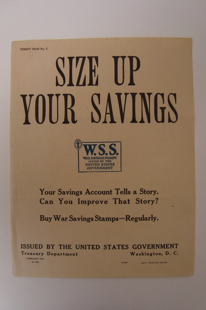 World War I War Savings Stamps Broadside: 'Size Up Your Savings' (Thrift Sign No. 2)