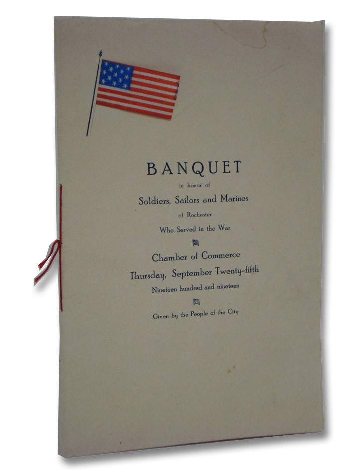 World War I Banquet Program: Banquet in Honor of Soldiers, Sailors and Marines of Rochester Who Served in the War