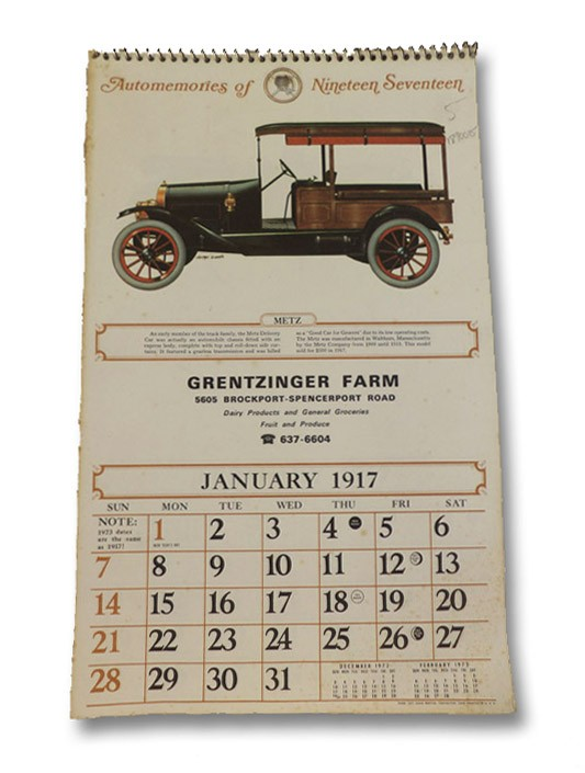 Automemories of Nineteen-Seventeen: 1917 / 1973 Classic Car Calendar, Grentzinger Farm