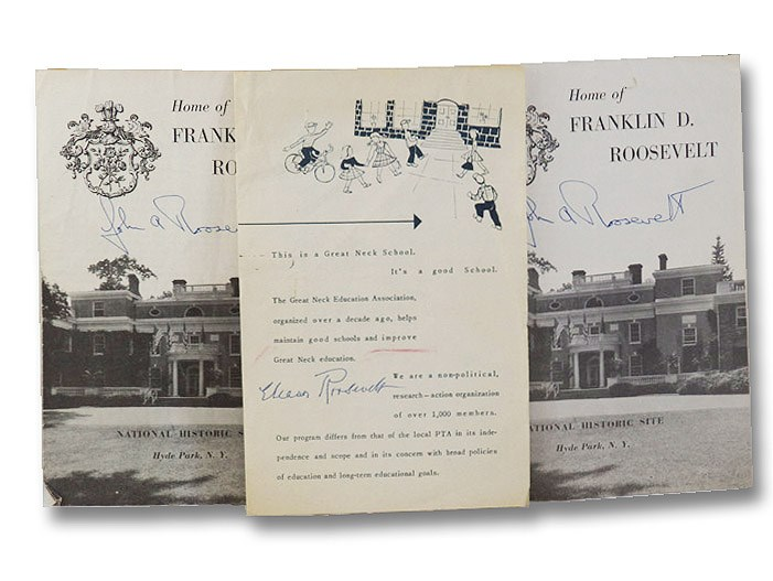 Three Pamphlets: Great Neck School Program Signed by Eleanor Roosevelt Following Public Speaking Engagement; Two Copies of Hyde Park Home of Franklin D. Roosevelt Pamphlet, Both Signed by John A. Roosevelt