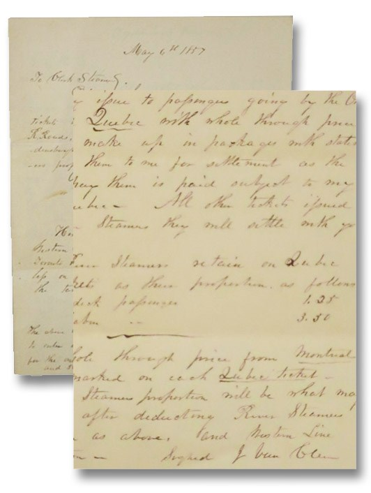 Two 1857 Autographed Letters Signed, Relating to Passage of Steam Boats on Lake Ontario and the Associated Ticket Costs [ALS]