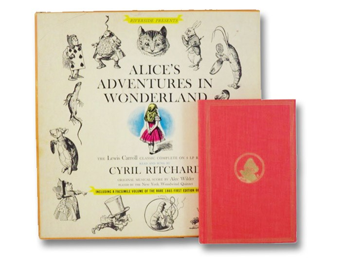 Riverside Presents Alice's Adventures in Wonderland: The Lewis Carroll Classic Complete on 4 LP Records, Read and Sung by Cyril Ritchard, Original Music Score by Alec Wilder, Played by The New York Woodwind Quintet - Including a Facsimile Volume of the Rare 1865 First Edition of the Book (Riverside SDP 22 - Modern Voices), Carroll, Lewis (Rev. Charles Lutwidge); Ritchard, Cyril; Wilder, Alec; The New York Woodwind Quintet; Clark, Barrett