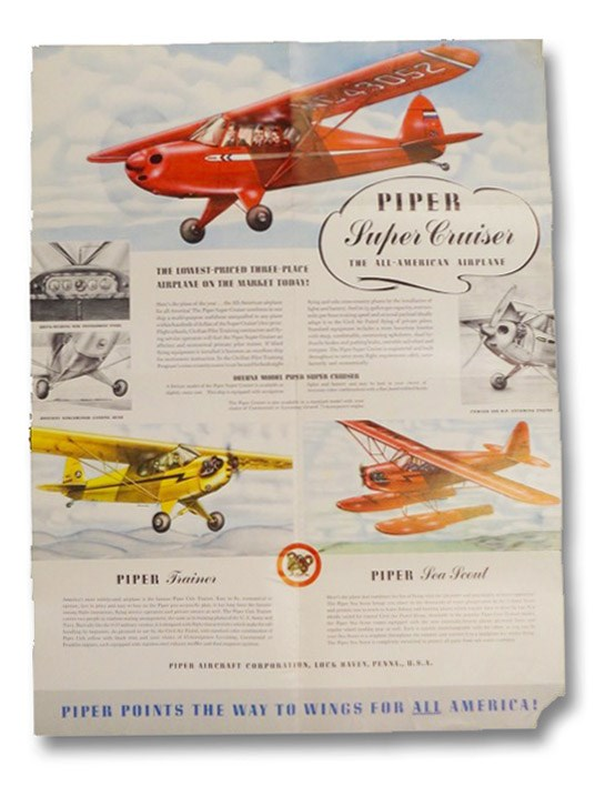 Piper Aircraft Promotional Poster, Featuring the Piper Super Cruiser, Trainer, Sea Scout, and O-59, Piper Aircraft Corporation
