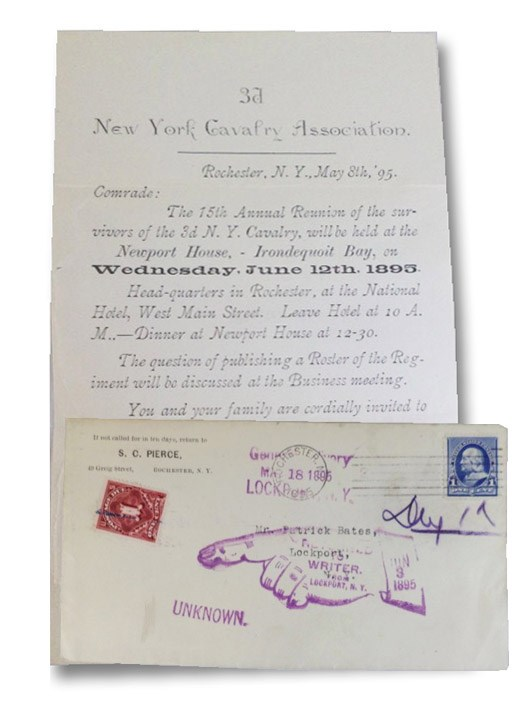 Typed Letter with Cover, Invitation to 15th Annual Reunion of the Survivors of the 3d [3rd] NY Cavalry at Newport House, Irondequoit Bay, on Wednesday, June 12th, 1895., 3d New York Cavalry Association