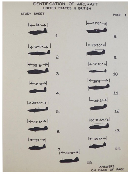 Identification of Aircraft, United States & British, Study Sheet Page 1 - 9 - Nine Large Flash Cards (CAAF-RP-357-500)