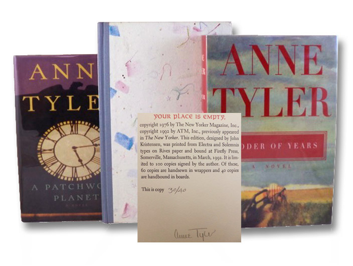 Anne Tyler 17-Volume Collection of Signed First Editions, with Correspondence: The Clock Winder; Celestial Navigation; Searching for Caleb; Earthly Possessions; Morgan's Passing; Dinner at the Homesick Restaurant; The Accidental Tourist; Breathing Lessons; Saint Maybe; Your Place is Empty; Tumble Tower; Ladder of Years; A Patchwork Planet; Back When We Were Grownups; The Amateur Marriage; Timothy Tugbottom Says No!; Digging to America, Tyler, Anne