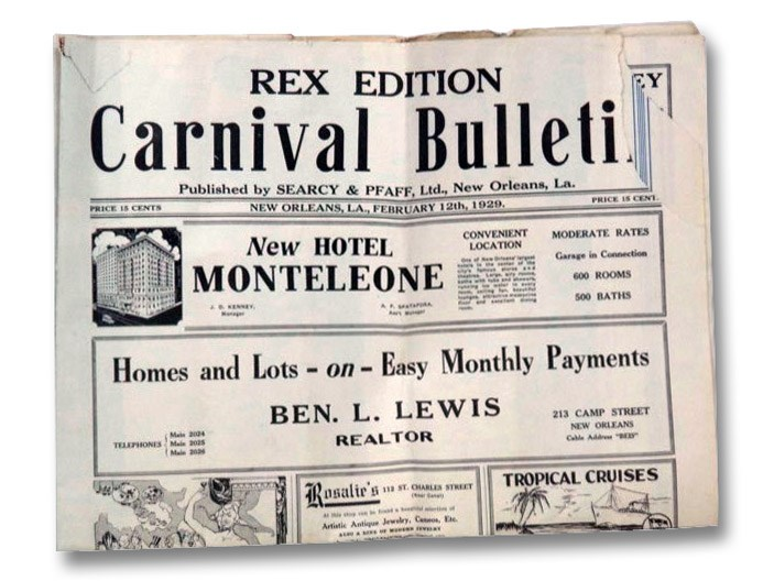 Carnival Bulletin, New Orleans, LA., February 12th, 1929. (Pageant of Rex), Searcy & Pfaff, Ltd.