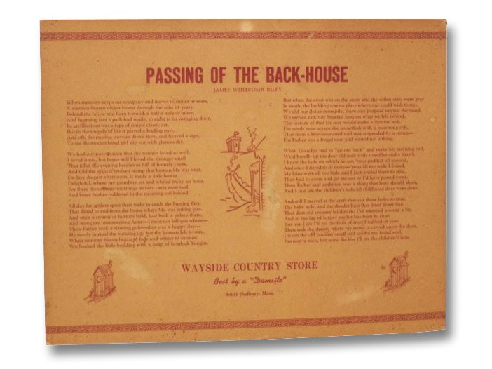 Passing of the Back-House [Poetry Broadside], [Dodd, Robert Leonard]; Riley, James Whitcomb