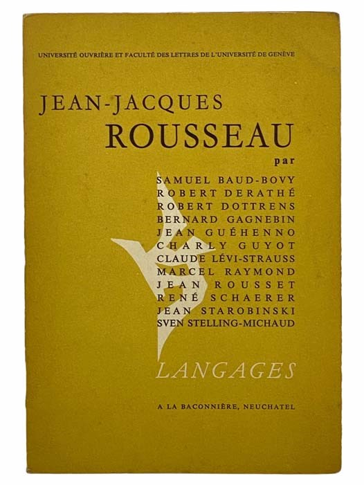 Image for Jean-Jacques Rousseau (Universite Ouvriere et Faculte des Lettres de l'Universite de Geneve) (Langages)