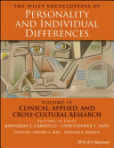 The Wiley Encyclopedia of Personality andIndividual Differences, Volume 4