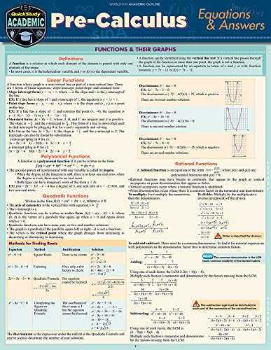PRE-CALCULUS EQUATIONS+ANSWERS LAMINATED STUDY GUIDE