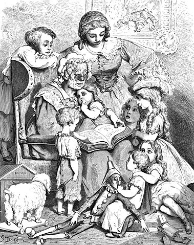 Gustav Doré, Mother Goose Reading Written Fairy Tales, 1866 [Public Domain] via Wikimedia Commons