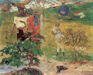 Paul Gauguin, Conversation (Tropics), 1887, Private Collection [Public Domain] via Wikimedia Commons