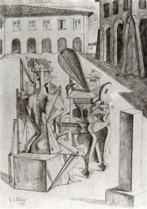 Giorgio de Chirico, The Mathematicians, 1917, The Museum of Modern Art, New York City [Public Domain] via Wikiart.org