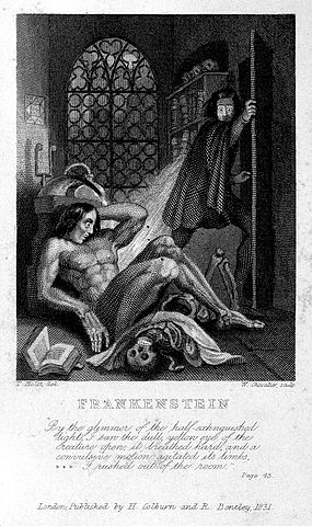 W. Chavalier, Frankenstein Observes the First Stirrings of His Creature, 1831, [Public Domain] via Wikimedia Commons