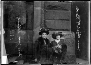 Picture of Jane Addams and Elizabeth Burke in a delegation to the Woman's Suffrage Legislature