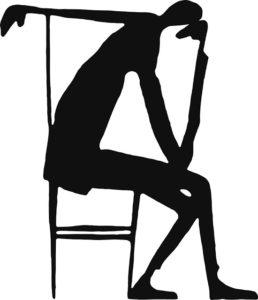 """Franz Kafka's ink and paper illustration, titled """"The Thinker."""""""