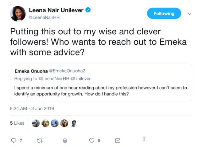 twitter chat with @leenanairHR