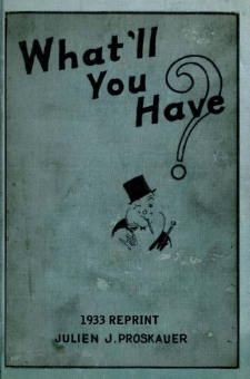 What'll You Have? (1933 Reprint)