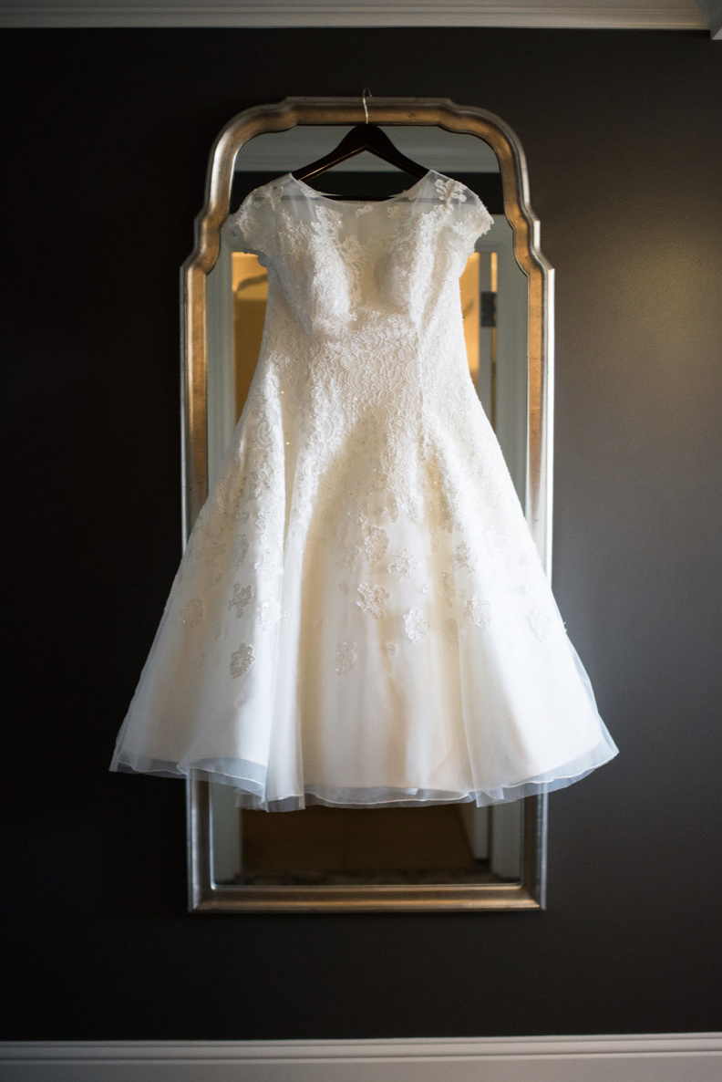 Oleg cassini - Tea Length Dress with Lace in Ivory  size 14 - $430 - (52% OFF)