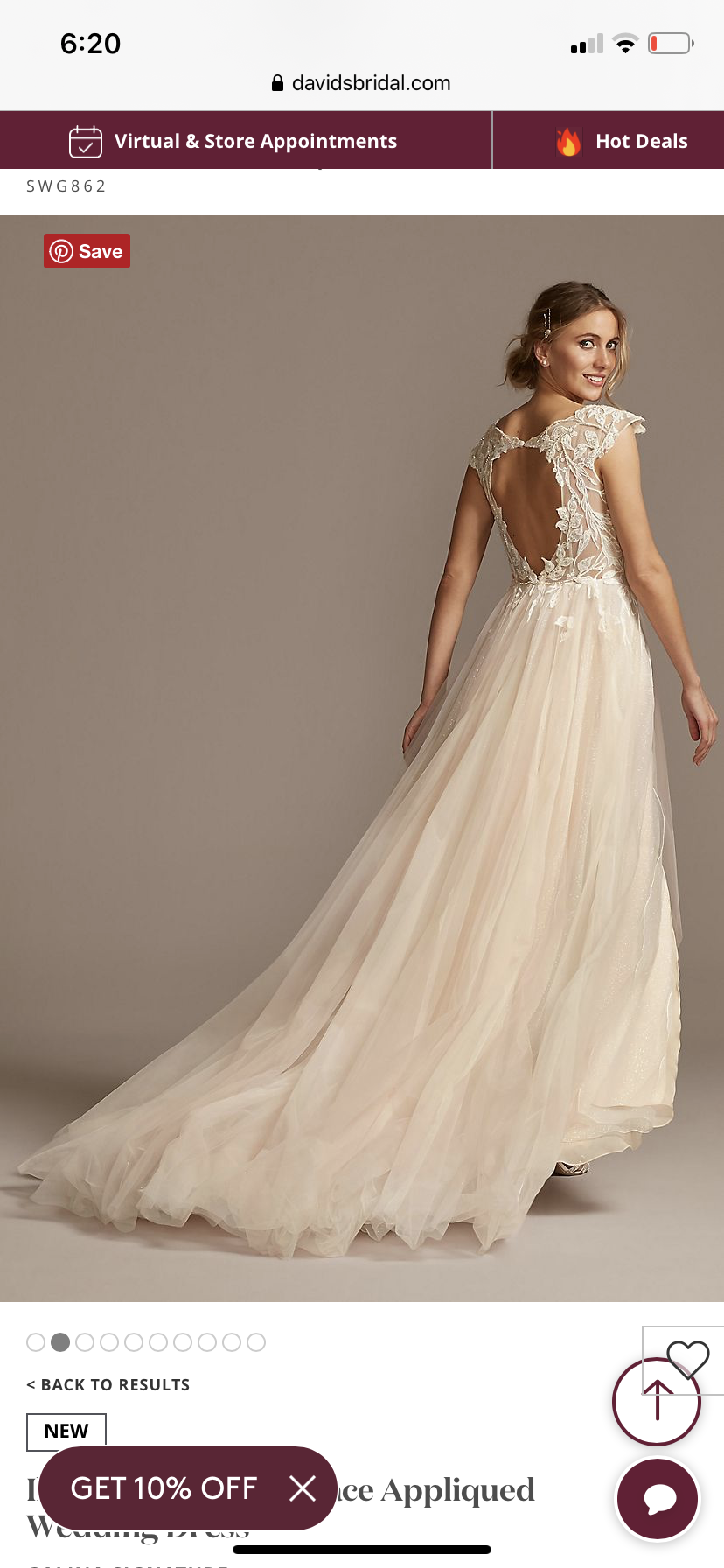 Galina signature  - ILLUSION CAP SLEEVE LACE APPLIQUED WEDDING DRESS - size 4 - $750 - (38% OFF)