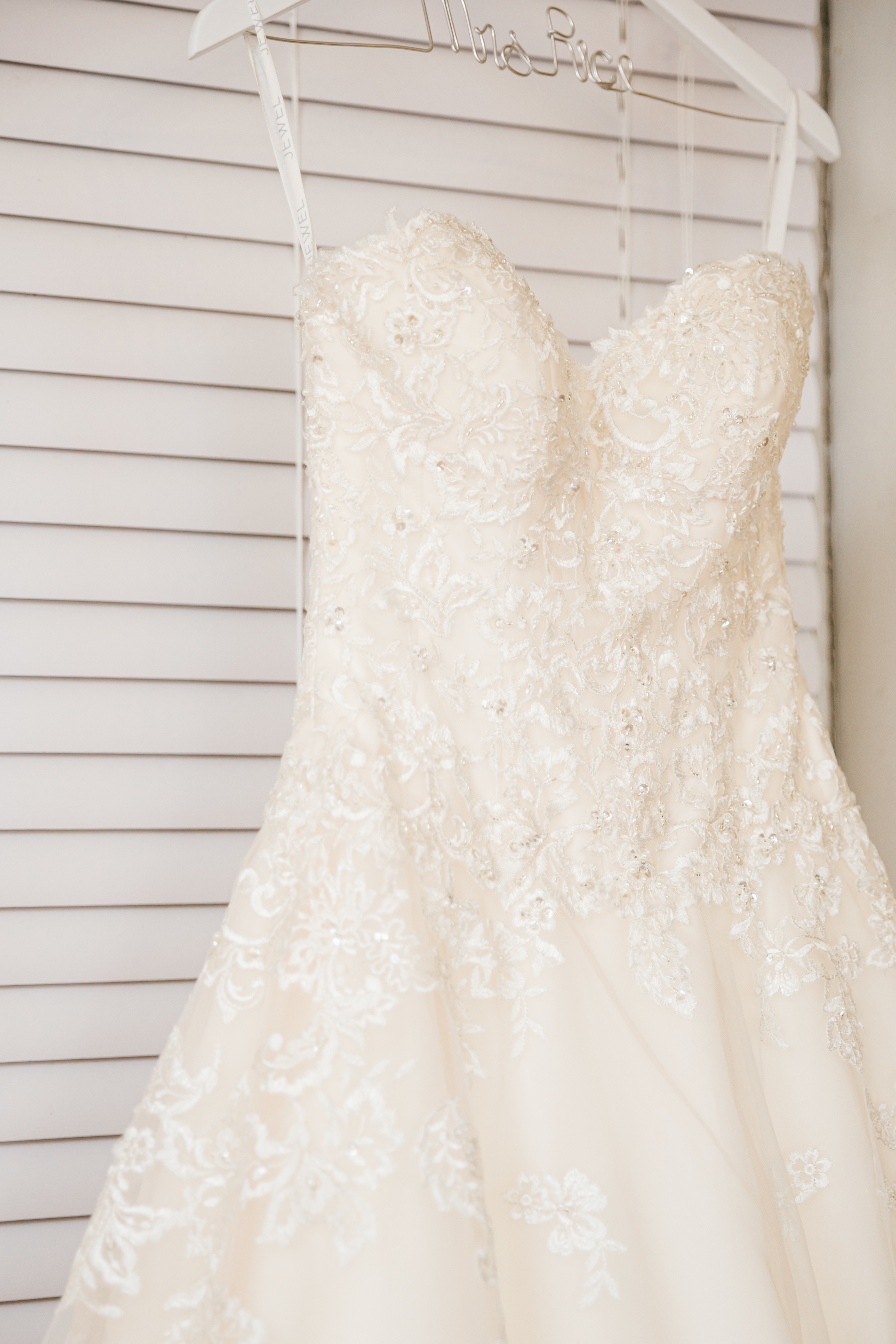 Jewel by David's Bridal - Strapless beaded lace ball gown wedding dress
