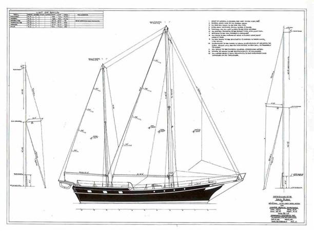 Sail Plan 1959 SPARKMAN & STEPHENS Original Irving Johnson YANKEE Cruising Ketch 147967