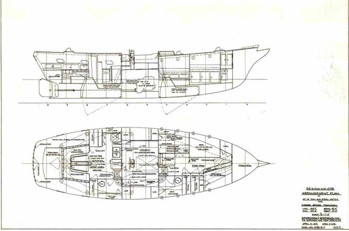 Arrangement Plan 1959 SPARKMAN & STEPHENS Original Irving Johnson YANKEE Cruising Ketch 147968